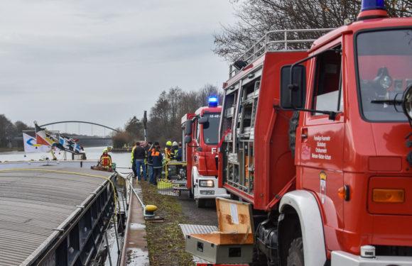 Schiffsunfall auf Mittellandkanal: Feuerwehr im Großeinsatz