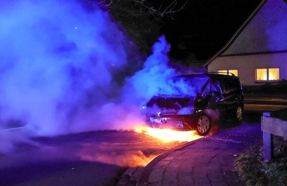 Hagenburg: Feuerwehr löscht brennenden Renault