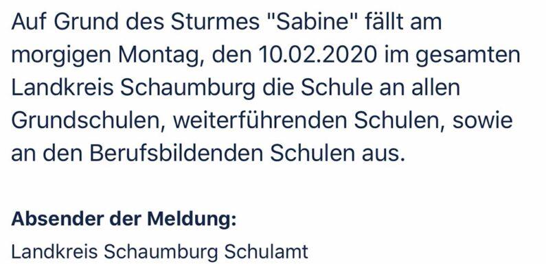 """Sturm """"Sabine"""" sorgt für Schulausfall im Landkreis Schaumburg"""