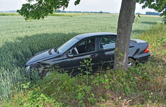 Von der Fahrbahn abgekommen und Baum knapp verfehlt