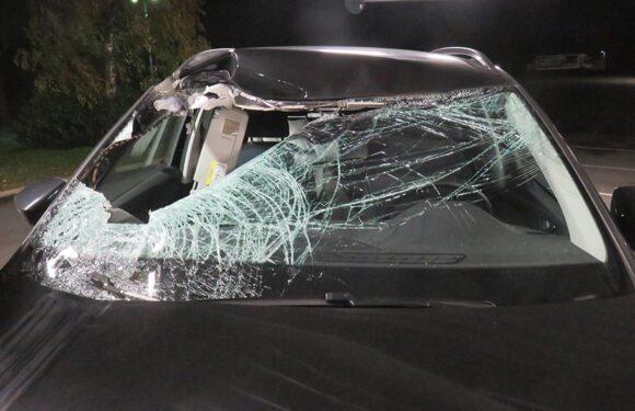 Autoreifen durchschlägt Windschutzscheibe und landet auf Beifahrersitz