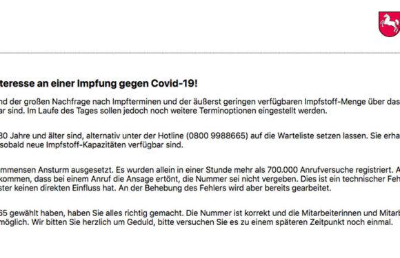 Covid19-Impfportal ebenfalls ausgebucht: Niedersachsen meldet 700.000 Anrufe in einer Stunde