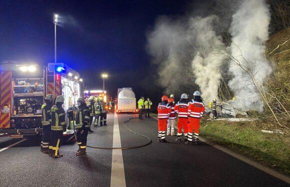 Schwerer Unfall auf A2 bei Bad Eilsen: Person verbrennt nach Autounfall