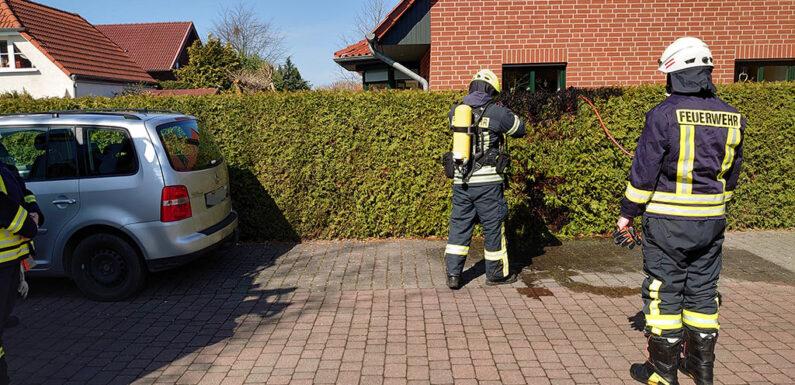 Heckenbrand in Hagenburg
